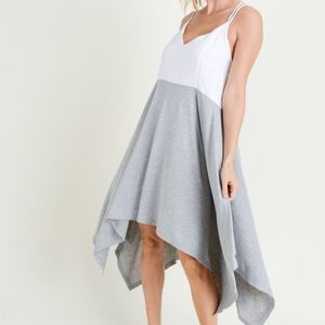 Grey and White Strapped dress